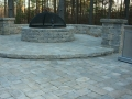 segmental fire pit and seat wall