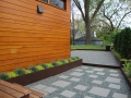 bluestone paver path set in gravel and stone dust patio