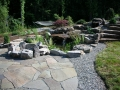water garden surrounded by a rock garden with ornamental conifers