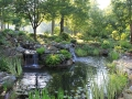 koi pond with split streams and multiple waterfalls