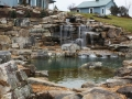 natural swim pond with aquatic plants, boulder walls and flagstone terrace